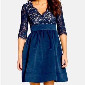 Eliza J Lace Faille Fit & Flare Dress Navy Blue
